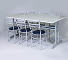 Conjunto 1  - Mesa para refeitório e cadeiras